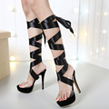 2016 Cross strap Lace up bondage transparent gladiator sandals high heel shoes clear crystal platform mules slides pumps two way