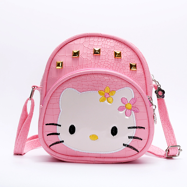 8c831fe931 Baby girls hello Kitty pink 2018 handBags Kids cat bag crocodile Rivet kids  girl Handbags PU Kids Crossbody Messenger Bags