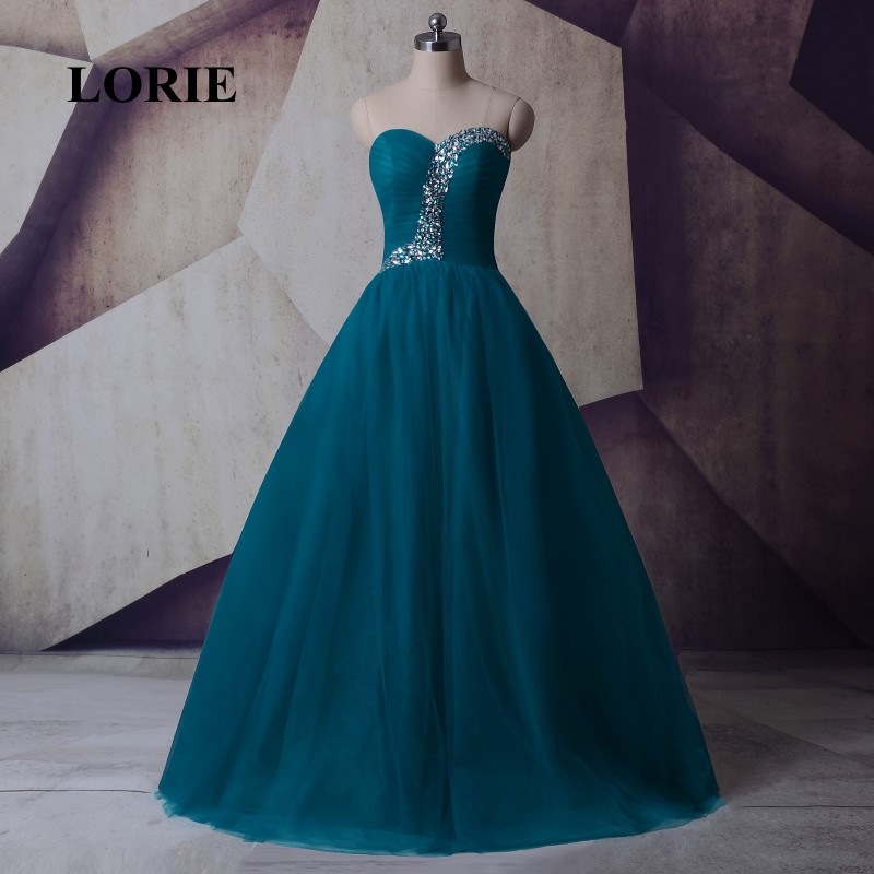 LORIE Plus Size Evening Dresses Sweetheart A-Line Floor Length Green Beaded with Rhinestones Tulle Prom Dress for Graduation