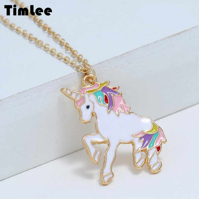 Timlee N097 New Cartoon Lovely Drop Oil Animal Unicorn  Pendant Alloy Necklaces Temperamental Jewelry Wholesale