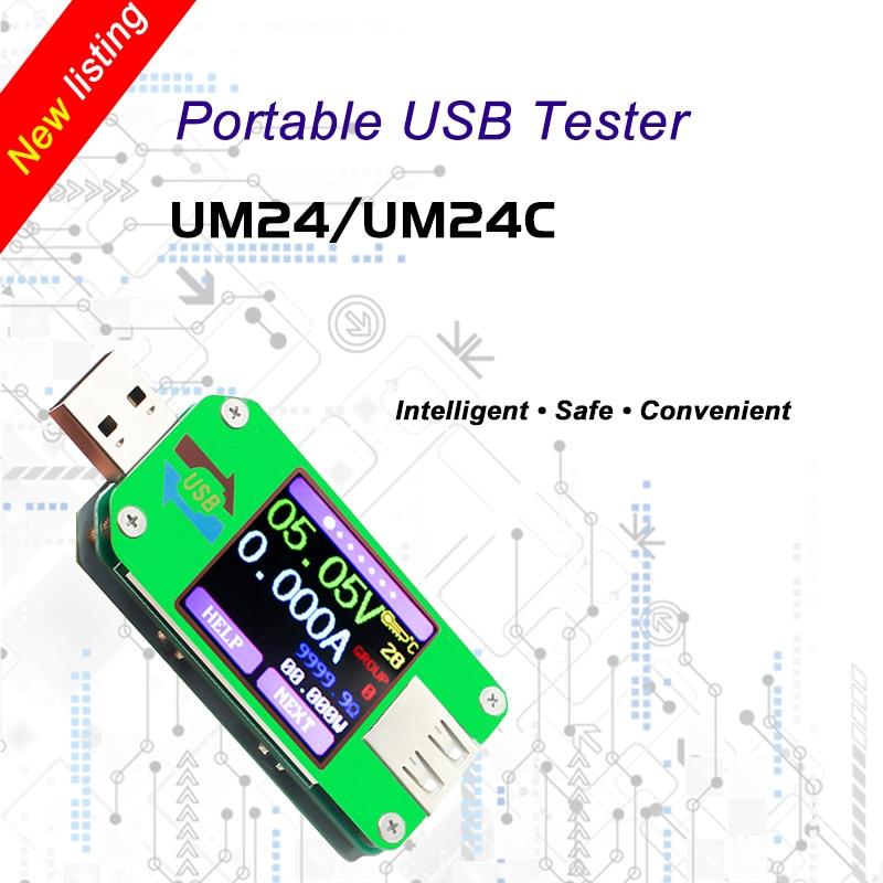 UM24 UM24C for APP USB 2.0 LCD Display Voltmeter ammeter battery charge voltage current meter cable resistance Tester