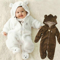 Autumn Winter Baby Rompers Bear Style Baby Coral Fleece Brand Hoodies Jumpsuit Baby Girls Boys Romper
