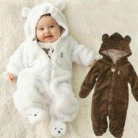 Autumn Winter Baby Rompers Bear Style Baby Coral Fleece Brand Hoodies Jumpsuit Baby Girls Boys Romper