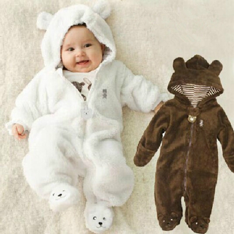 цена на Autumn Winter Baby Rompers Bear style baby coral fleece brand Hoodies Jumpsuit baby girls boys romper newborn toddler clothing