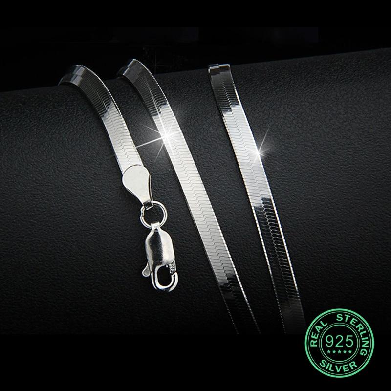 Collar de plata esterlina 925 para hombre, cadena de serpiente plana y delgada, 3-4 mm, unisex, regalo de niña, cadena de moda, fiesta clásica, nuevo y bueno