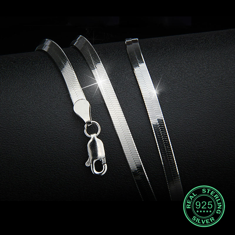 925 Sterling zilveren heren ketting platte dunne slangenketting 3-4 mm Unisex Dames Meisje Gift trendy ketting Klassiek Feestje Heet Nieuw goed