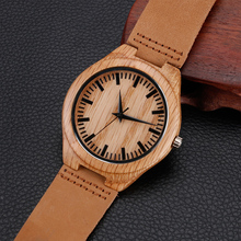 Casual Wooden Watch With Leather Band Strap