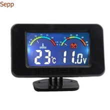 Sepp car Microcomputer Water Temp + volt Gauges colorful led shining with warning modified water temperature meter