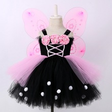 Baby Girls Butterfly Tutu Dress Kids Flowers Fairy Cosplay Costume With Wings Wand Children Fancy Party Dress Pink Black 2 10Yr