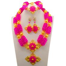 Afryki nigerii ślubne biżuteria zestawy Indian zestaw biżuterii Big Rose naszyjnik kwiatowy zestaw kolczyków zestaw biżuterii damskiej tanie tanio Zestawy biżuterii Moda Kryształ Naszyjnik kolczyki bransoletka Star Śliczne Romantyczny Ślub 10112 Taofe ifafa Kobiety