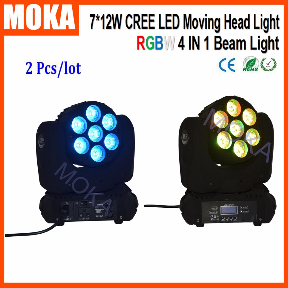 2 Pcs/lot Beam 12W*7 Pcs Stage LED Head Moving Spot Disco Show Light for Event Christmas Party Nightclub