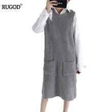 Rugod 2017 New Cashmere Knitted Dress Women Warm Long Sweater Dress For Women Autumn Winter O neck Pocket Knitting Dress Vestido