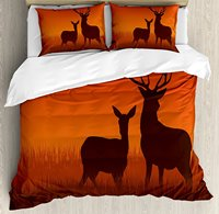 Hunting Decor Duvet Cover Set Silhouette Illustration of a Deer and Doe on Meadow Autumn Season Skyline, 4 Piece Bedding Set