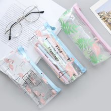 Flamingo Green Plants Transparent Pencil Case Stationery Storage Organizer Cosmetic Pouch , 19.5cm x 8.5cm(China)