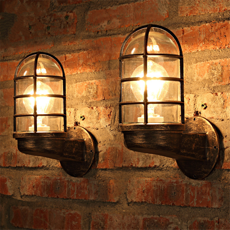Industria Style Wrought Iron Wall Lamp Vintage Style Glass Cover Cafe Light Waterpr Rust Iron Bar Lights Free Shipping
