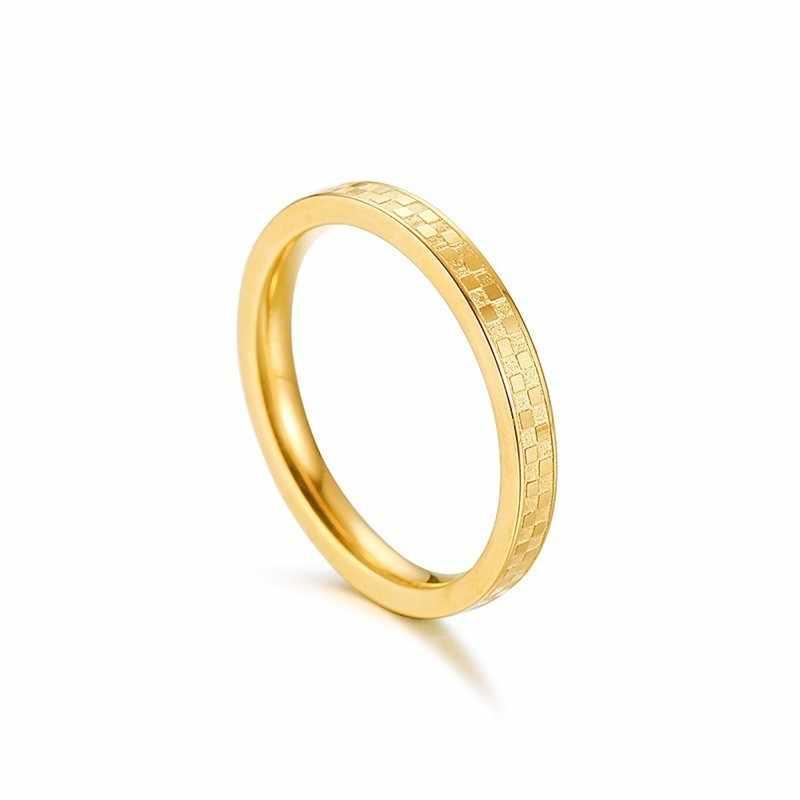 ผู้หญิงแหวนทองสีสแตนเลสบางกว้าง Charm งานแต่งงานแบรนด์ Street สไตล์ Anillos Mujer หญิงของขวัญ