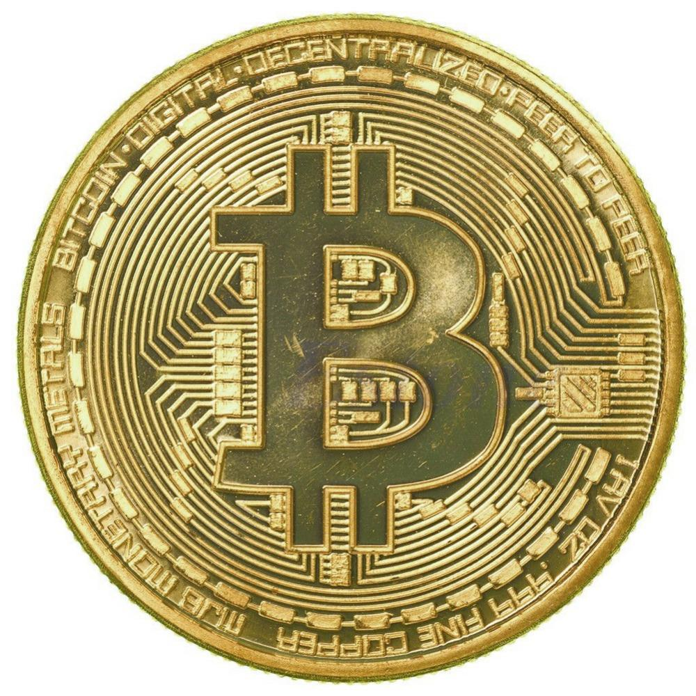 1 x Guldpläterad Bitcoin Coin Collectible BTC Coin Art Collection Gift Fysisk