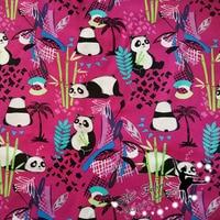 100X110 cm Adorável Panda Bambu Rosa Quente Capa de Almofada de Tecido de Algodão para a Menina Roupas Cortina Hometextile DIY-AFCK804