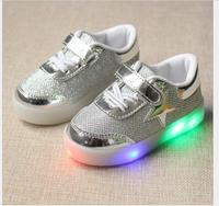 New Spring autumn Children Brand Star LED Shoes Light Kids fashion Sneakers Boys Girls casual sports shoes 3 colors