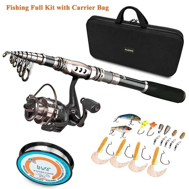 PLUSINNO Spinning Rod and Reel Combos FULL KIT Telescopic Fishing Rod Pole with Reel Line Lures Hooks Fishing Carrier Bag Case