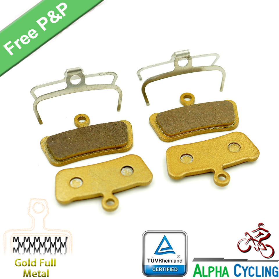 Bicycle Disc Brake Pads for SRAM Guide RSC, RS, R, Avid Trail, 4 Pistions Disc Brake, Gold Metal, 2 Pair/ORD