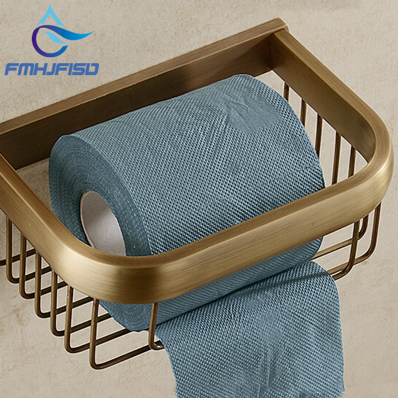 Free Shipping Promotion Antique Brass Toilet Paper Holder Tissue Basket Wall Mounted Bath Shelf Storage black of toilet paper all copper toilet tissue box antique toilet paper basket american top hand cartons