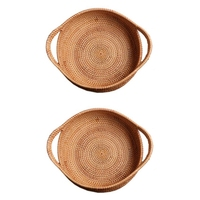 2Pc Wicker Storage Basket Fruit Dish Rattan for Weaving Handmade for Kitchen Food Picnic Bread Sundries Decor Container Organi