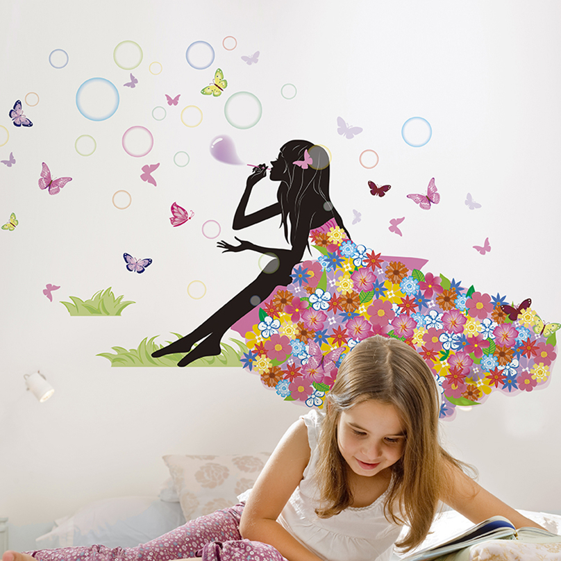 [SHIJUEHEZI] Fairy Girl Bubbles Wall Sticker Vinyl Butterflies Wall Art DIY Home Decor for Kids Rooms Living Room Decoration