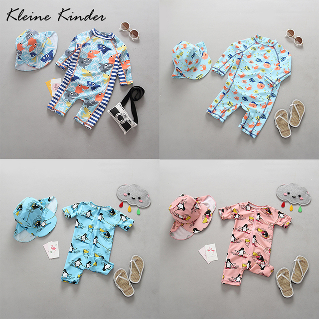 Kleine Kinder One Piece Baby Swimwear Cartoon Print UV Sun Protection Long Sleeves Toddler Girls Boys Bathing Suit Swimsuit 0-4Y