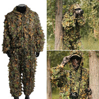 Woodland Camo Ghillie Suit Camouflage Clothing Hunting Deer Stalking 3D Hunting Leaf Game