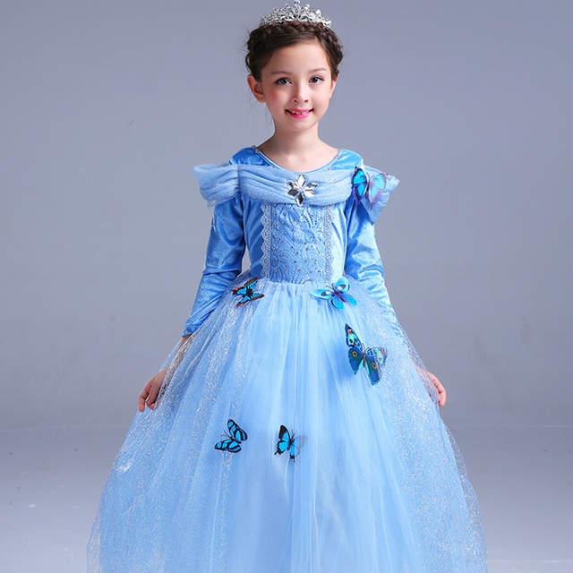 5f0e8a8dc249 Online Shop ABGMEDR Brand Cinderella Dress Winter Girls Dresses Children  Christmas Clothing Monsoon Kids Dress Warm Cloak Butterfly Clohes |  Aliexpress ...