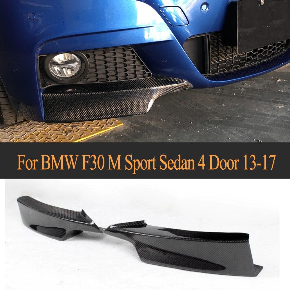 3 Series Carbon Fiber Car Front Bumper Splitters Lip flaps apron for BMW F30 M Sport Sedan 4 Door 13-17 P tyle 325i 328i 335i 3 series carbon fiber front bumper lip spoiler for bmw f30 m sport sedan 4 door 2012 2016 d style 320i 325i 328i 330i 335i