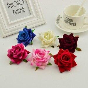 Image 1 - 100 stücke seide rosen kopf DIY hand kränze hut blume rot rosa weiß blau künstliche blume billig für home hochzeit dekoration