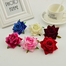 Corona de rosas de seda para costura DIY, 100 Uds., sombrero de flores, rojo, rosa, blanco y azul, flor artificial barata para decoración de hogar y boda