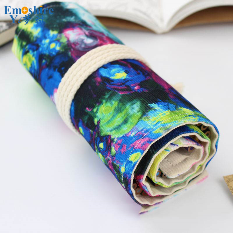 Pencil Case School Canvas Roll Pouch Sketch Colored Pencil Bag Shade Brush Pen Storage Pecncil Box Estuches School Students B048 kicute sketch floral flower canvas roll up pencil case 36 48 72 hole large capacity pen brush holder storage pouch school supply