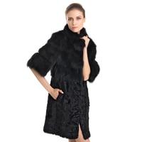 ZY89002 Лидер продаж элегантные Для женщин реальные теплый мех ягненка с лисой меховой воротник девять четверти тонкий Модное зимнее пальто жи