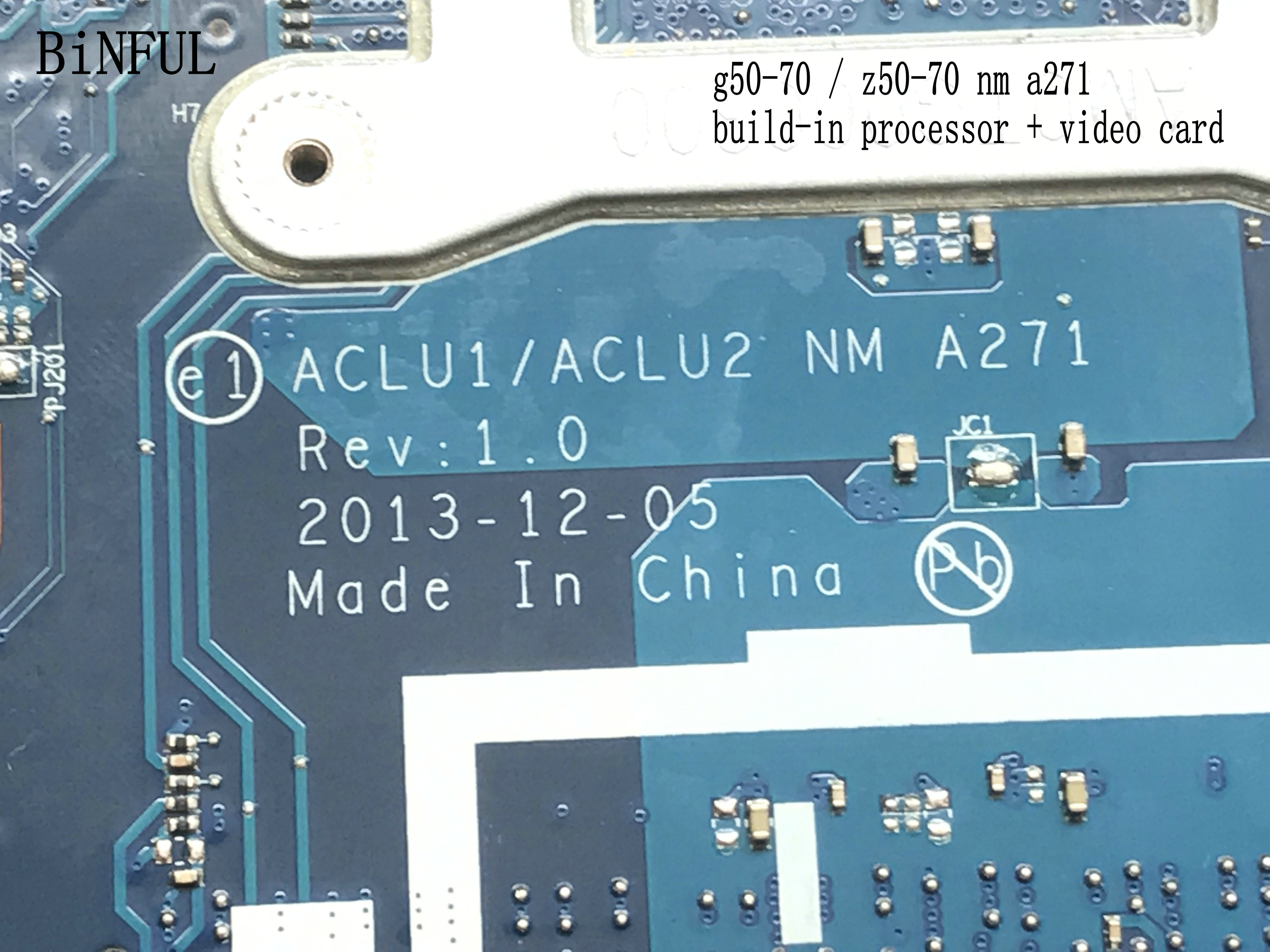 BiNFUL 100% NEW  STOCK  ACLU1 / ACLU2 NM A271  FOR LENOVO G50-70 LAPTOP MOTHERBOARD BUILD-IN PROCESSOR Celeron 2957+VIDEO CARD