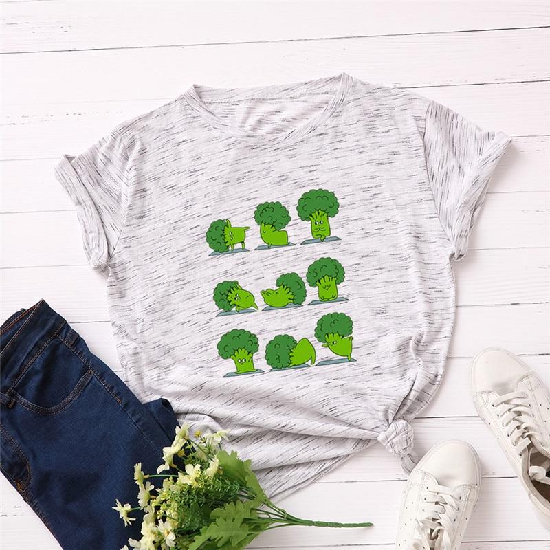 Print T-Shirt Short-Sleeve Broccoli Funny S-5XL Plus-Size Women 100%Cotton Tops O-Neck
