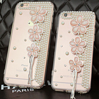 Fashion 3D DIY Tassel Sakura Flower Bling Diamond Rhinestone Crystal Clear Transparent Phone Cases For Iphone