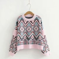 HCBLESS Women Sweater 2018 autumn new ethnic style geometric plaid sweater loose wild short sweater