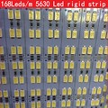 168Leds/m 100cm SAMSUNG Seoul chip SMD 5630 Led Rigid Strip light bar Double Row Cool White 12mm PCB DC12V , 50m/lot