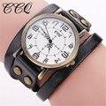 Ccq marca pulseira de couro de vaca relógio de pulso de luxo do vintage casual mulheres relógio de quartzo relogio feminino 1347