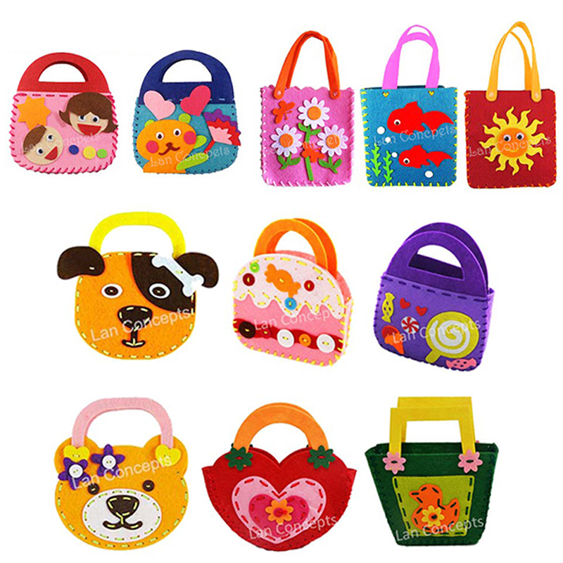Wholesale diy kids craft kit felt bag with non woven for Craft kits for kids in bulk
