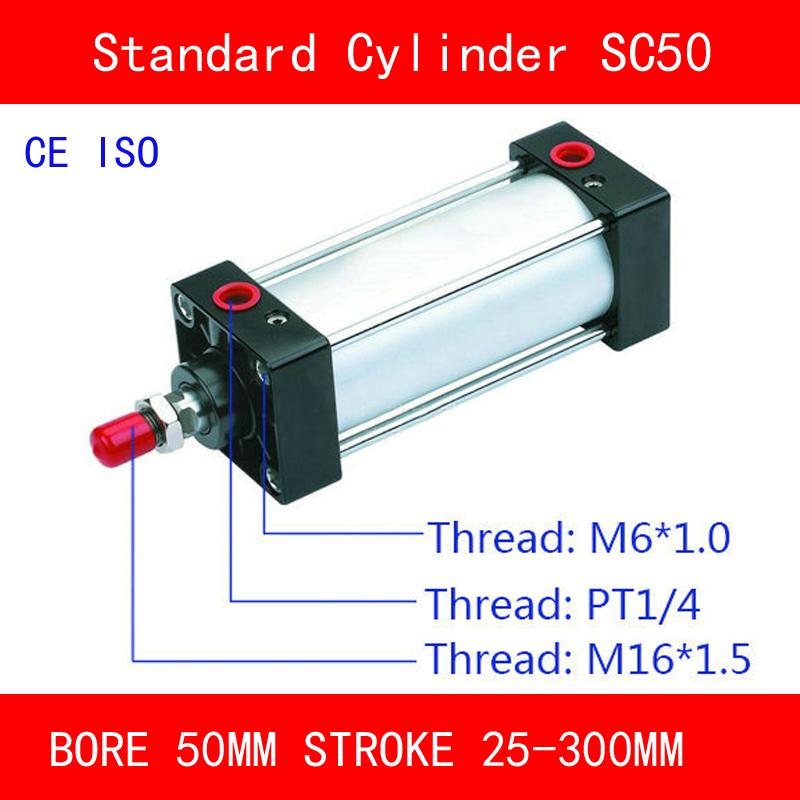 CE ISO SC50 Standard Air Cylinder Valve Magnet Bore 50mm Strock 25mm to 300mm Stroke Single Rod Double Acting Pneumatic CylinderCE ISO SC50 Standard Air Cylinder Valve Magnet Bore 50mm Strock 25mm to 300mm Stroke Single Rod Double Acting Pneumatic Cylinder