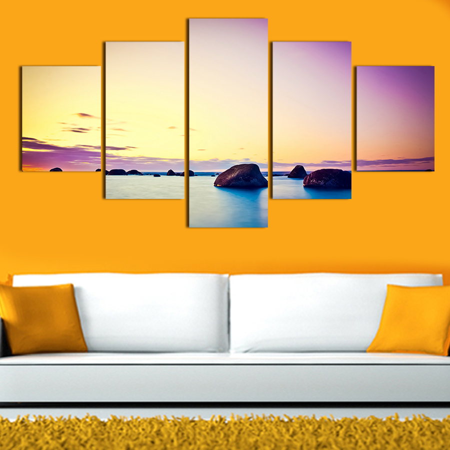 2017 New 5 Piece Big Size Colorful Sky Wall Art Modern Picture Set ...