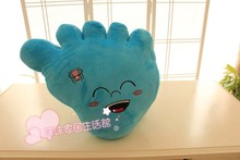 cute plush blue foot toy new creative big foot pillow doll gift about 45x35cm