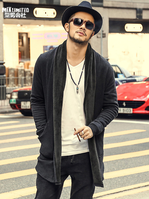 brand casual Men autumn long sweater knit cardigan jacket coat Korean sweater warm Slim Fit Men Thick Cardigan Jacket Coat F2006