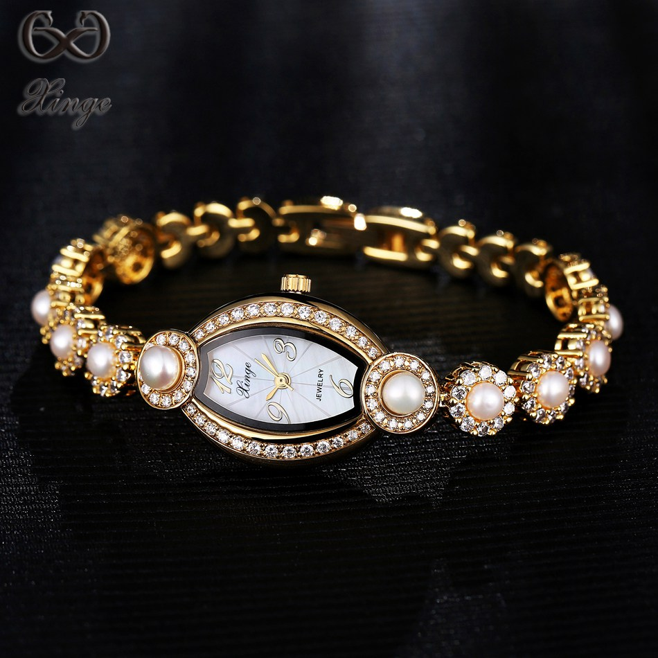 Xinge Brand 2017 New Arrival Pearl Zircon Women's Watches Luxury Fashion Ladies Oval Gold Crystal Quartz-watch Bracelet Clock