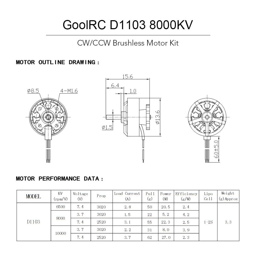 HTB15kZiSpXXXXa7XXXXq6xXFXXXl goolrc rc drone motor d1103 8000kv brushless motor kit for 80 90  at honlapkeszites.co