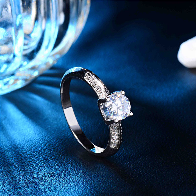 H:HYDE Channel Setting Round Ring Brilliant Shiny AAA CZ Engagement Rings For Women Silver Color Wedding Jewelry Size 9